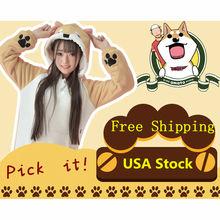 Dropshipping Lovely Muco Harajuku Sweatshirt  Japan Kawaii Plush Female Hoodie Girls Anime Shiba Inu Doge With Ears Pullover