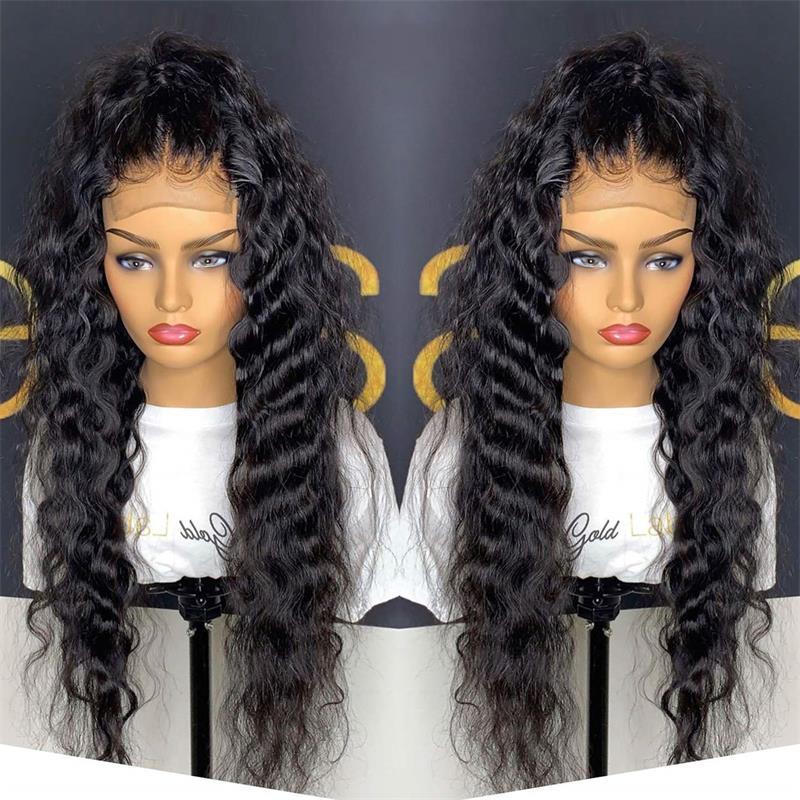 Парики женские синтетические на сетке спереди, термостойкие волосы из волокна, повседневные свободные, с глубокой волной, парики для макияж...