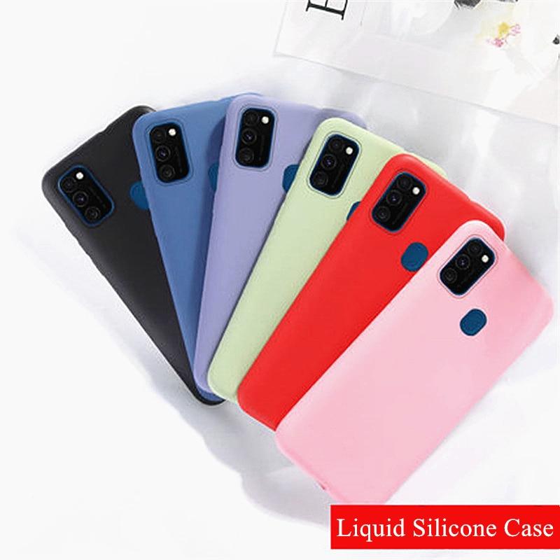 Capa para Samsung Galaxy A21s Capa para Samsung Galaxy A21 A31 A41 A51 A71 M31 M21 S8 Capa de Silicone Líquido Original