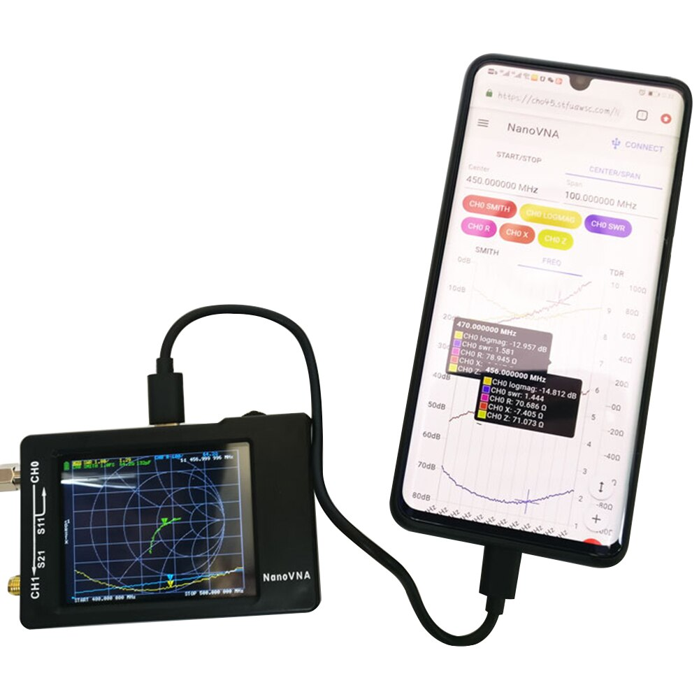 NanoVNA Vector Network محلل هوائي الموجة القصيرة MF HF VHF UHF 50KHz ~ 300MHz