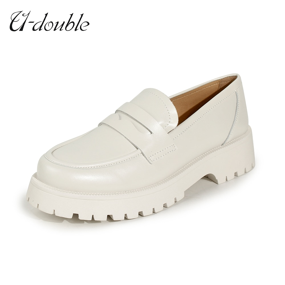 U-DOUBLE Spring Shoes Women British Style 2021 New Thick-soled College Style Casual Loafers Genuine Leather Fashion Shoes Girls