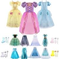 girl princess dress rapunzel belle cinderella jasmine snow queen elsa anna dress kids baby girl birthday party carnival costume