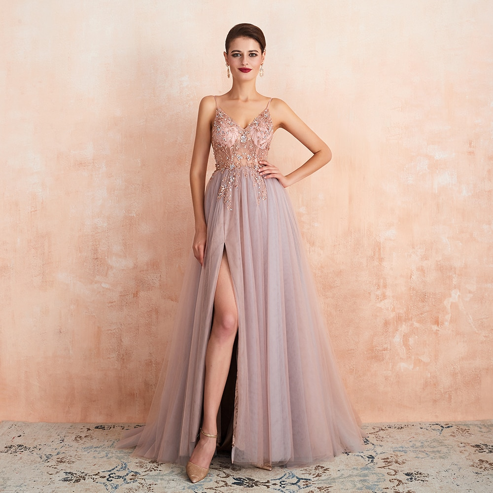 Spaghetti Straps Evening Dresses 2020 New Arrival V-Neck Rhinestones Beading Formal Prom Gowns with Slit robe de soiree