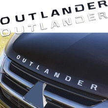 Metal OUTLANDER Letters Logo Sticker Car Tuning For Mitsubishi Front Head Hood Decoration Badge Name