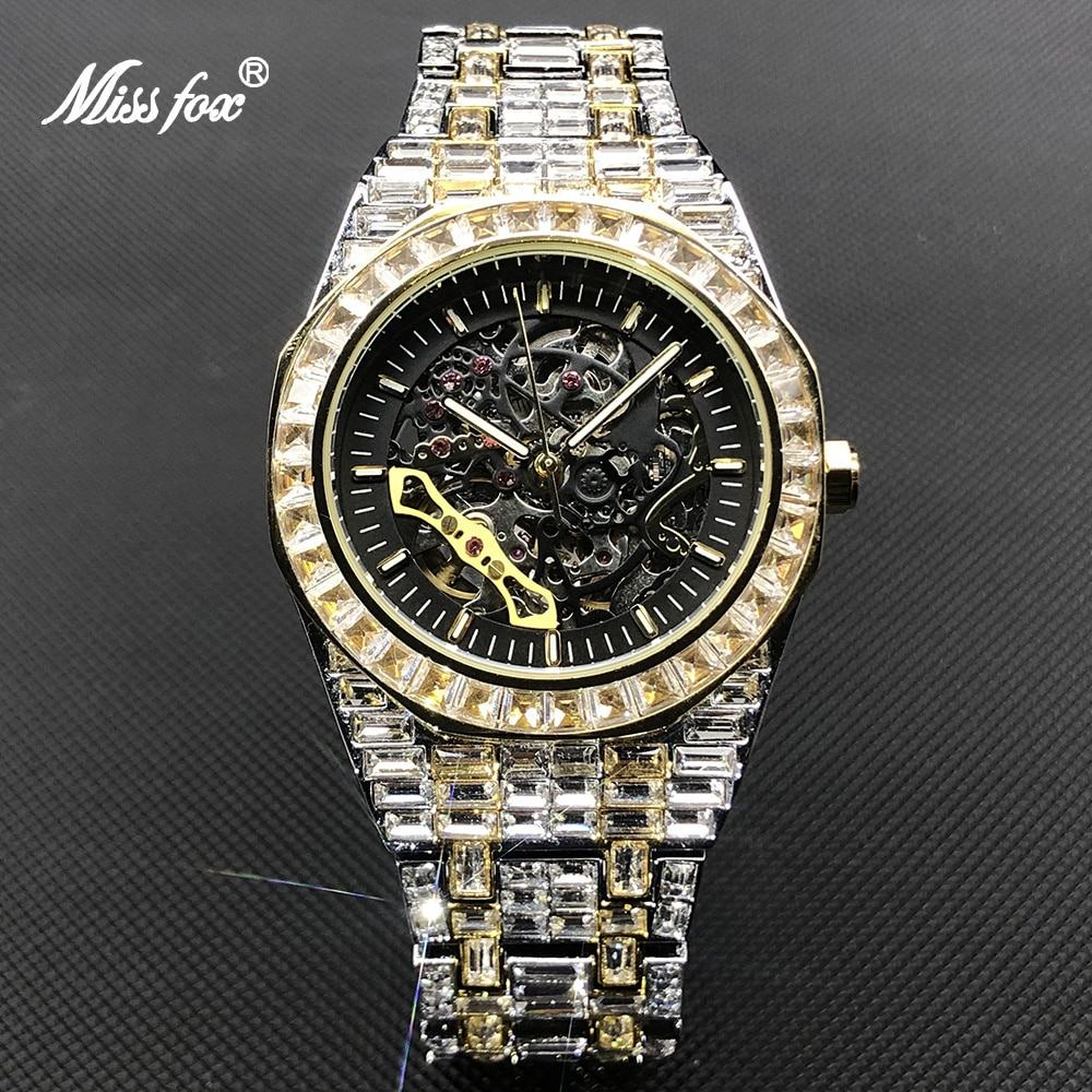 MISSFOX Hip Hop Mechanical Mens Watches Luxury Iced Out Stainless Steel Automatic Wristwatch For Men Jewelry Relógio masculino