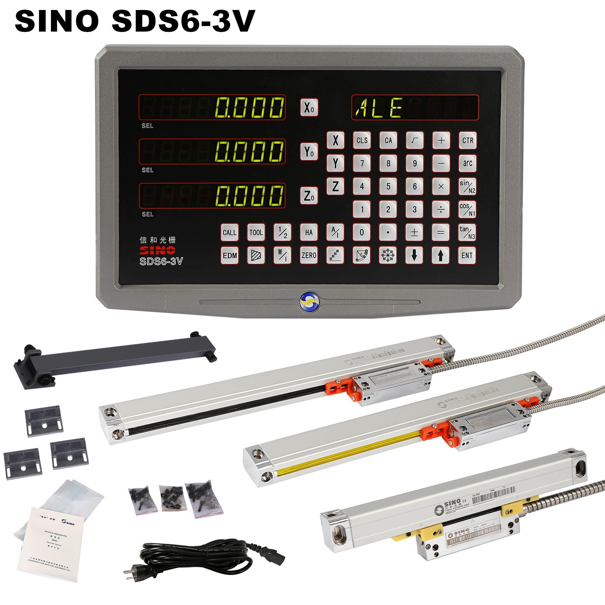 SINO SDS6-3V المعادن 3 محور مخرطة طحن DRO قراءات رقمية و 5um KA-300 مقياس خطي + KA-500 سليم البصرية التشفير حاكم