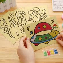 Kids Montessori DIY Color Sand Painting Art Creative Drawing Toys Sand Paper Learn To Art Crafts Edu