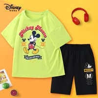 disney cartoon breathable boy summer suit pure cotton short sleeved kid clothes boy childrens clothing