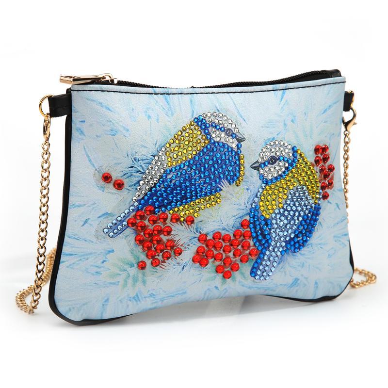 Bolso cruzado para mujer, bolso de hombro con cremallera, cadena de cuero con pintura de diamantes, Forma especial DIY, bolso de compras para mujer