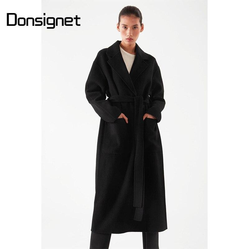 Женское длинное шерстяное пальто, повседневное Свободное пальто с отложным воротником, Осень-зима