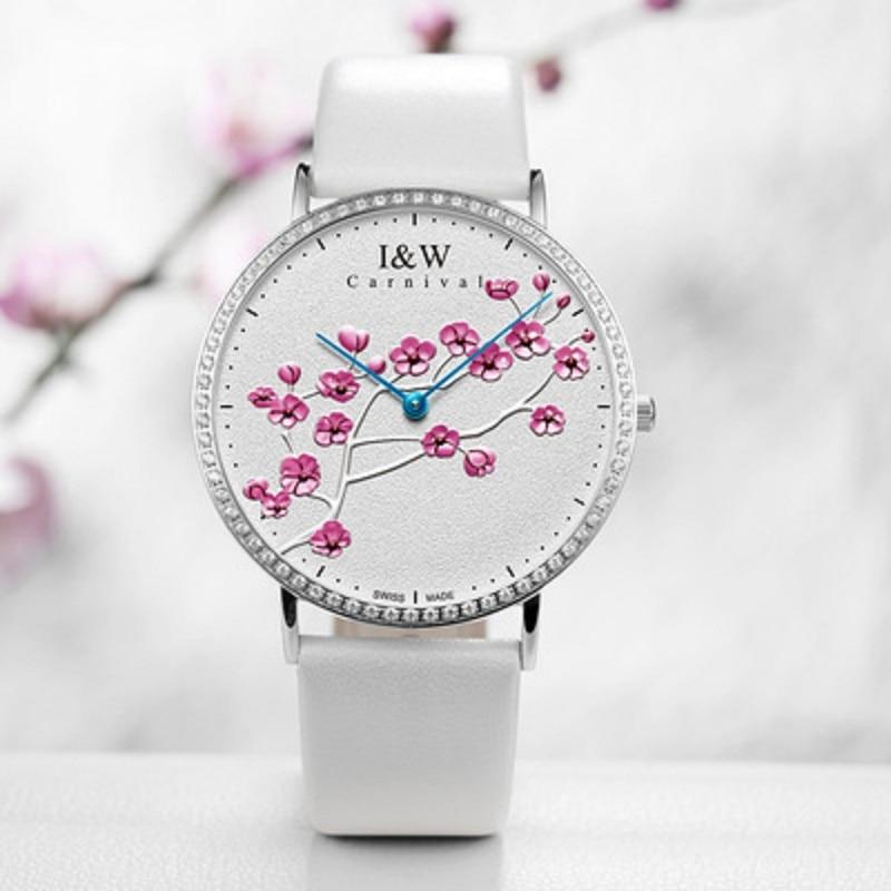 carnival Swiss Aiwochi IW ladies watch diamond personality fashion plum blossom art female watch waterproof ultra-thin Swiss wat enlarge