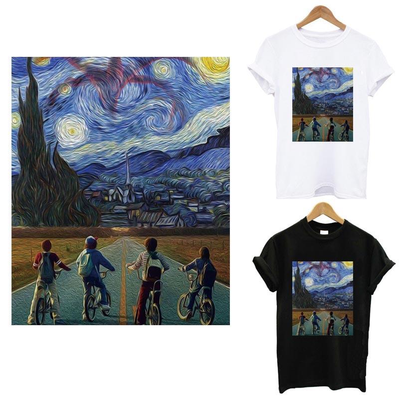 The Stranger Van Gogh things, термополоски, наклейка на одежду, сделай сам, футболка для девочек, железные нашивки для одежды, теплопередача
