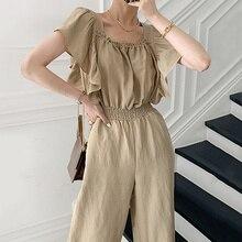 Korean Chic Summer Dress Woman French Style Square Neck Fold Waist Design Flying Sleeve Wide Leg Jum