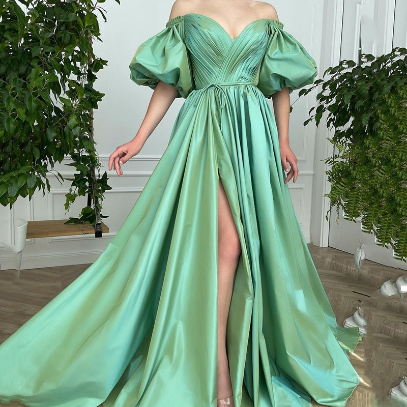 Green Satin Long Evening Dresses Women Couture Sweetheart Puff Short Sleeve Prom Gowns Split Side Party Wear Vestido de Festa