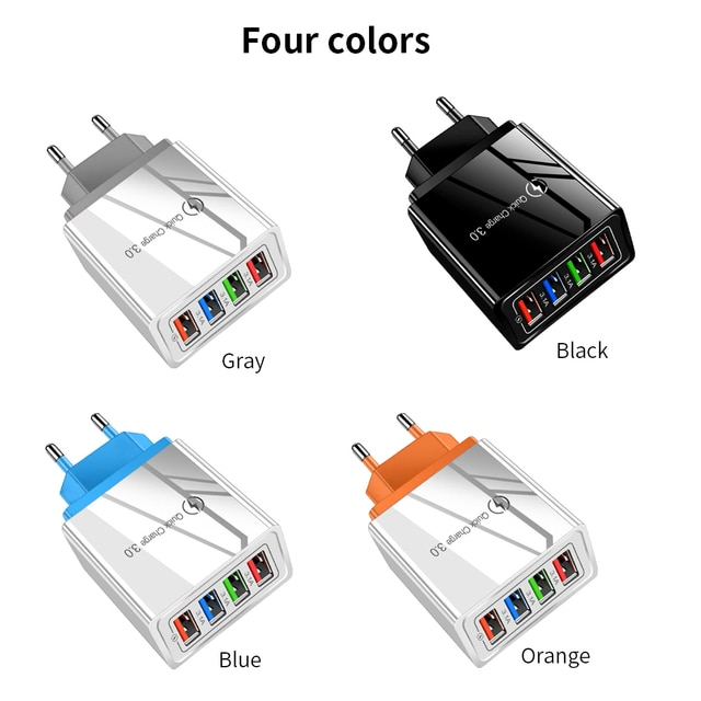 Universal Phone Charger 4 USB Ports Mobile Charging Head Fast Charge 3.0 For iPhone For Samsung S10 For Xiaomi For Huawei 8
