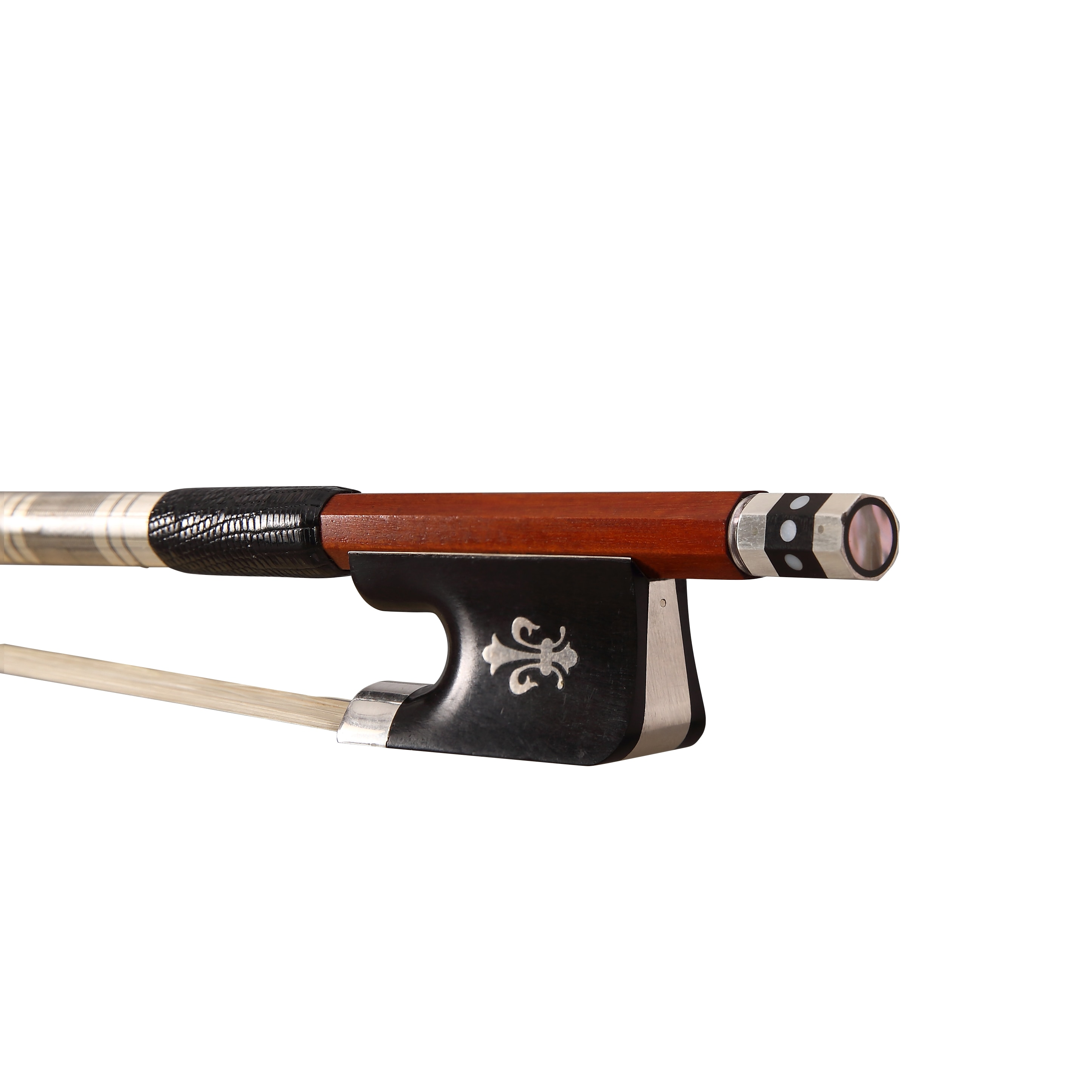 Free Shipping Pernambuco Round Cello Bow with Ebony Flower Frog and Silver Parts FP994B enlarge
