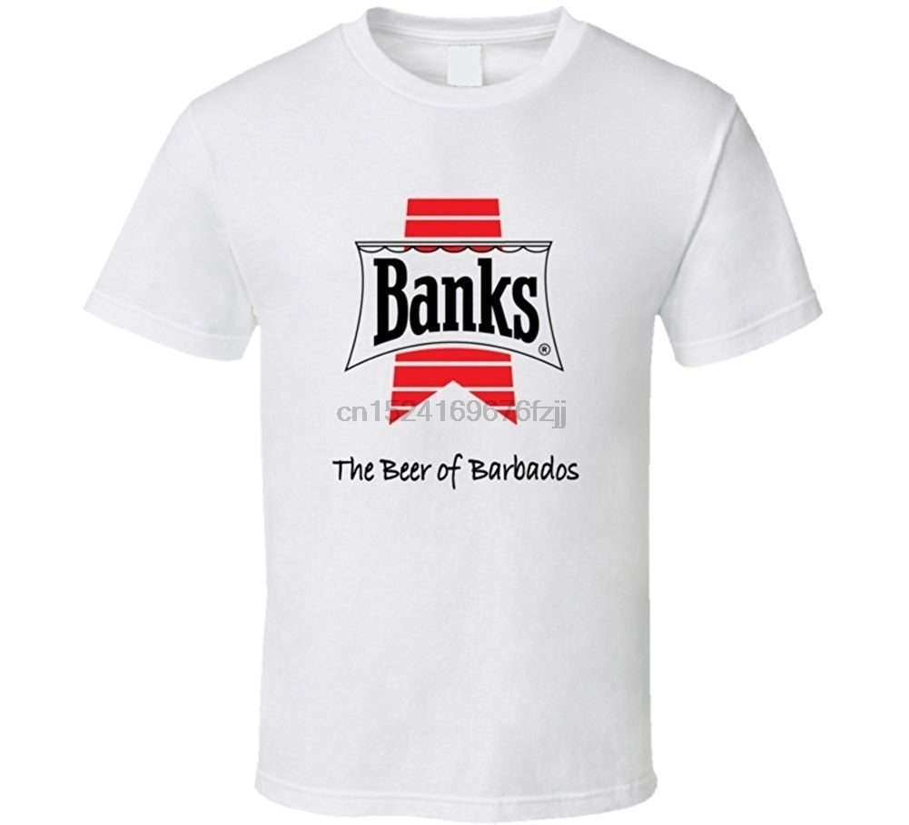 Camiseta de hombres famosos, camisa de bancos, cerveza, Barbados