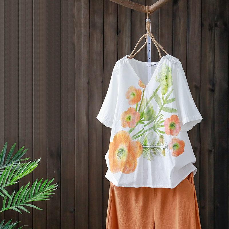 2020 Summer New Arts Style Women Short Sleeve Loose V-neck T-shirt vintage Print cotton linen Tee Shirt Femme Casual Tops S868