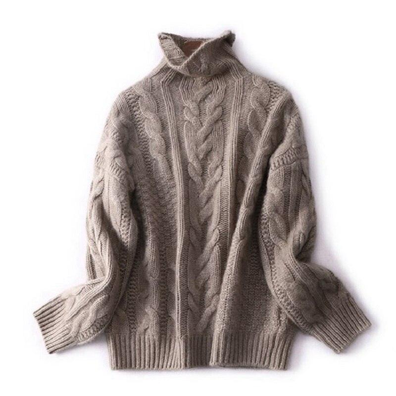 2019 outono e inverno nova camisola de caxemira feminino curto parágrafo solto grosso meia gola camisola de fundo