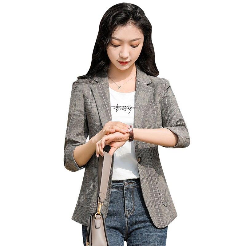 Plaid Blazer Women's Thin Suit 2021 Spring and Summer New Waist-Tight Temperament Leisure Versatile