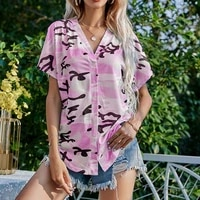 summer printing and dyeing shirt women short sleeve button cardigans tops and blouses plus size loose casual holiday blouse