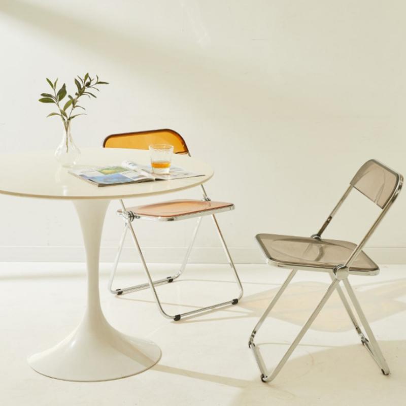 Акриловый прозрачный стул, сетчатый красный складной стул, стул для ресторана, обеденного стола, современный простой магазин одежды, фото с...