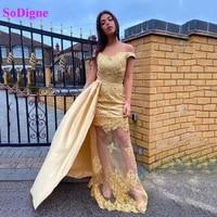 sodigne elegant gold mermaid evening dress off shoulder tulle applique women formal gown with detachable skirt party dress