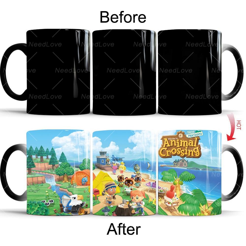 NS Nintendo Switch-كوب مشروب ماجيك ، لعبة animal crossing new horizon ons ، تغيير اللون ، فنجان قهوة ، هدية إبداعية