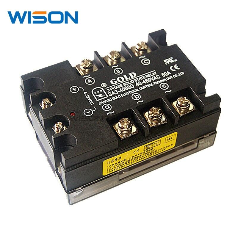 SA34080D SA3-4080D GOLD Solid state relay SSR 480VAC 80A NEW AND ORIGINAL MODULE