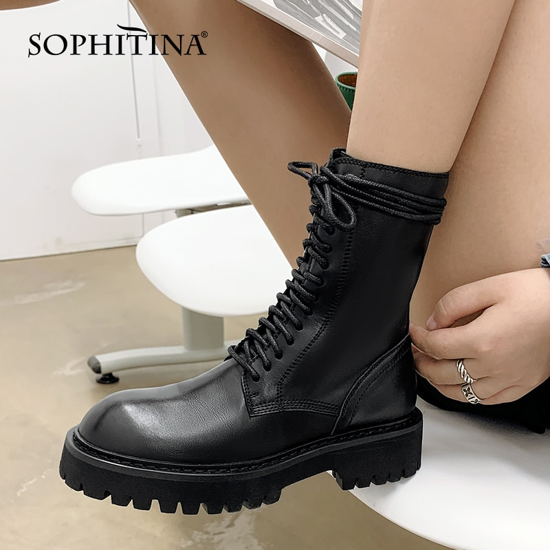 SOPHITINA Women Platform Boots Fashion Genuine Leather Handmade Zipper Ankle Boots Round Toe Mid Heel Casual Female Shoes SO897