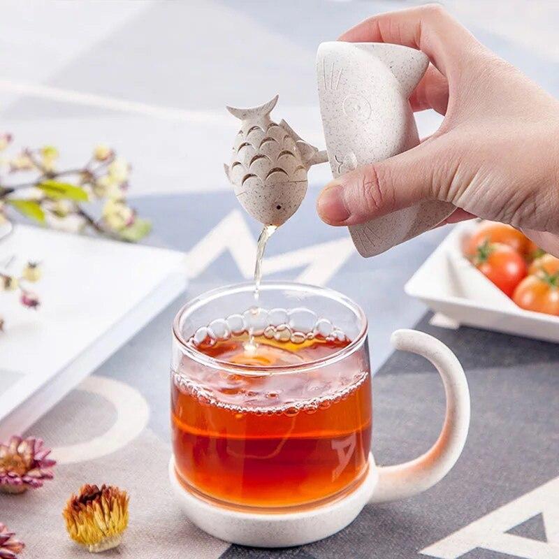 Taza de cristal con forma de gato, recipiente de filtro colador, regalo, nueva, 2020, taza de té portátil sólida, adorable, Infusor de té de mono de pescado