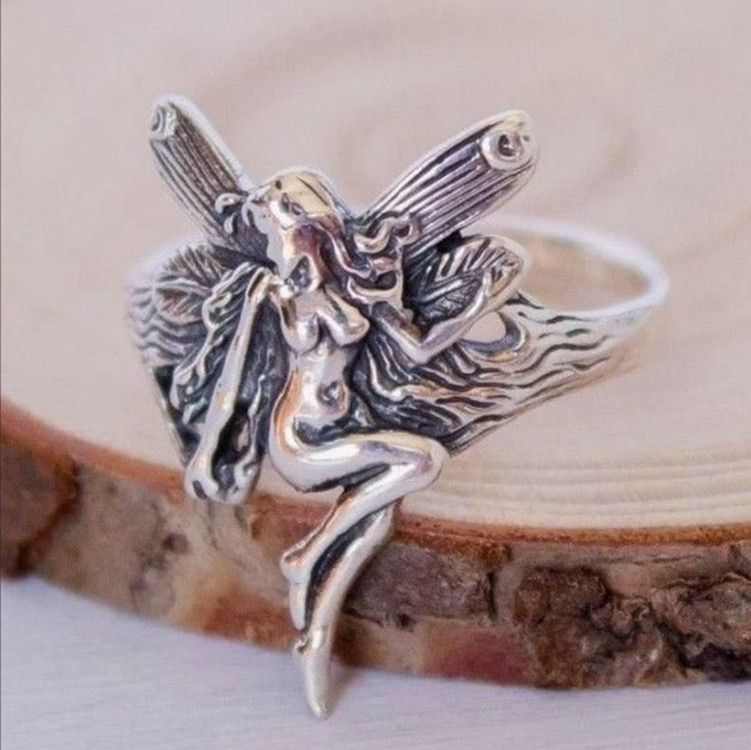 Vintage Silver Plated Angel Wings Ring for Womens Gothic Steampunk Party Anniversary Ring  Women's Jewelry
