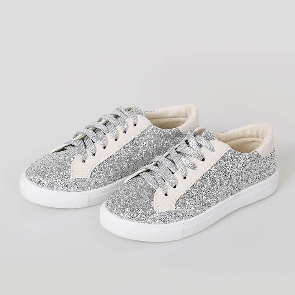 2020 zapatos planos elegantes para mujer, zapatos planos plateados negros transpirables con cordones, zapatillas deportivas de otoño, zapatos para caminar de mujer