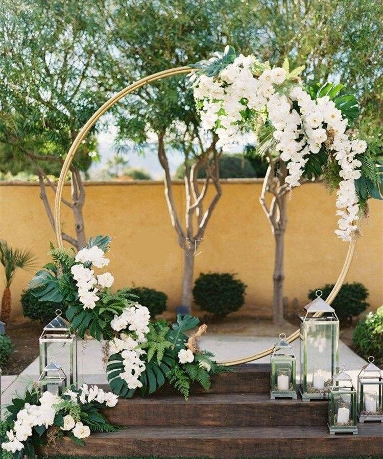 Gramado ao ar Guia de Estrada Grande Círculo Casamento Aniversário Arco Decoração Fundo Forjado Adereços Único Flor Livre Tela 2.5m
