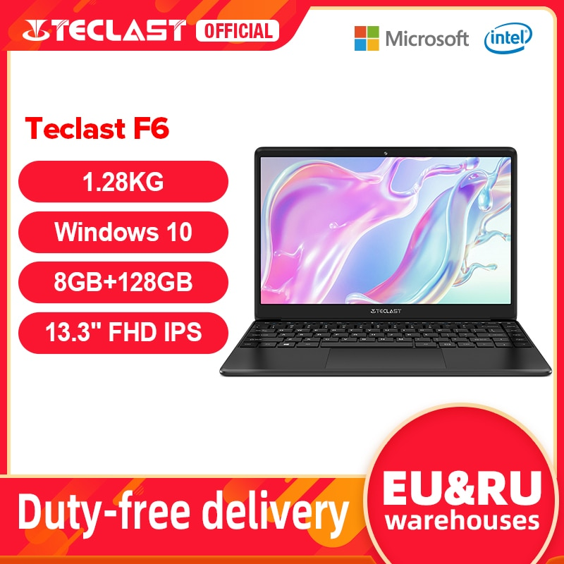 Newest Teclast F6 Laptop 13.3'' FHD IPS 1920x1080 Intel Apollo Lake Windows 10 Laptops 8GB LPDDR4 128GB SSD Notebook 1.28KG
