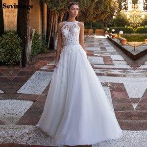 Sevintage Boho Wedding Dresses 2021 Open Back Lace Appliques Beach Bride Gown Princess Wedding Party Dress