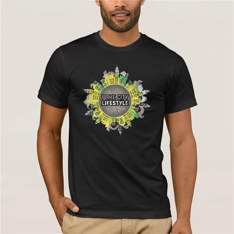 100% Cotton City Lifestyle fashion summer men tshirt Creative Graphic men Printing Short Sleeve Tshirt