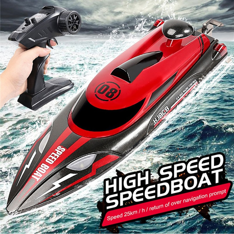 2021New Rc Boat 2.4G Remote Control speedboat Rechargeable Waterproof Cover Design Anti-collision Protection rc boat enlarge