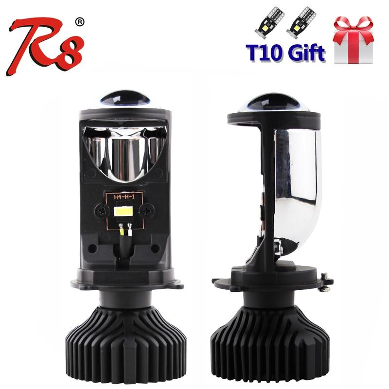 R8 2PCS/Set H4 9003 Hi/Lo Beam LED Mini Projector Lens Car Styling Headlight Bulbs Automobile Lamp 6500K 8000LM Focused Light Y6
