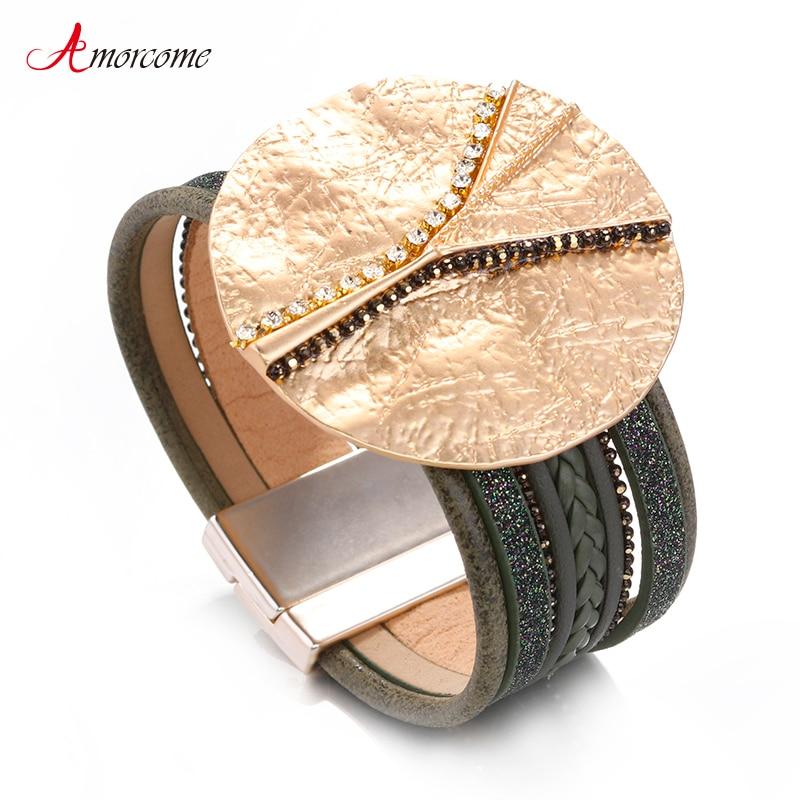 Amorcome pulseras de cuero redondas de Metal con lentejuelas para mujer, moda Bohemia Boho, multicapa, brazalete ancho, joyería femenina