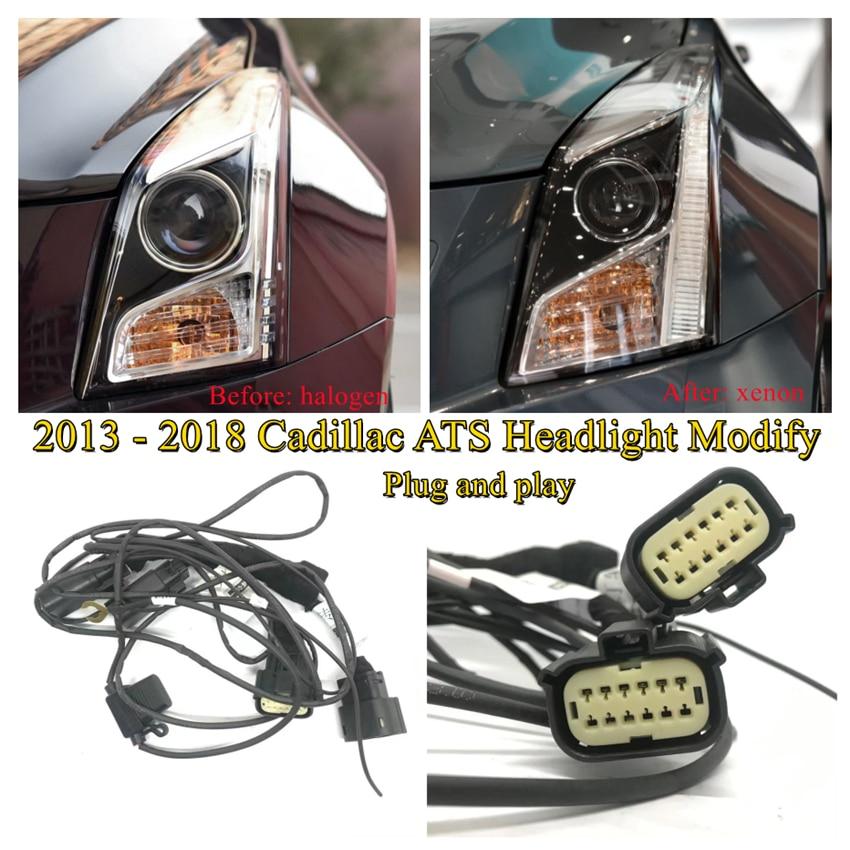 Модификация автомобильной фары CZMOD, улучшенная модель, ремень безопасности для 2013-2018 Cadillac ATS от галогенных до ксеноновых подключений и игр