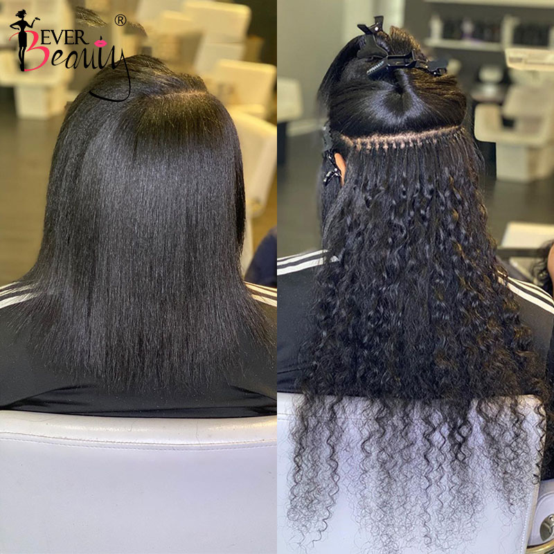 Deep Wave I Tip Hair Extensions Microlinks Brazilian Virgin Hair Bulk Curly I Tip Hair Extensions Fo