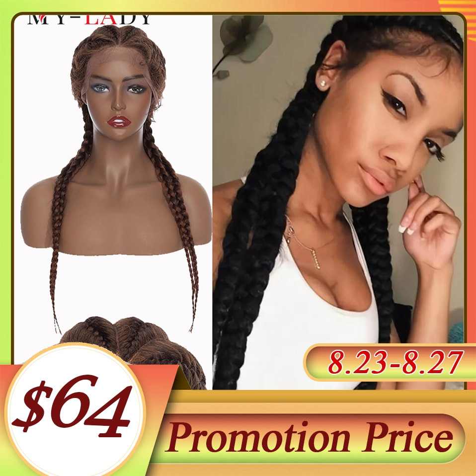 My-Lady 24Inch Braided Wigs Synthetic Lace Front Wig Wholesale Box Braided Lace Wigs African American Twist Wigs For Black Women