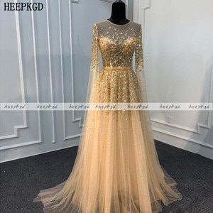 Champagne Long Sleeves Dubai Evening Dress Luxury Crystal A Line Tulle Formal Occasion Dresses For Women Prom Party Gowns