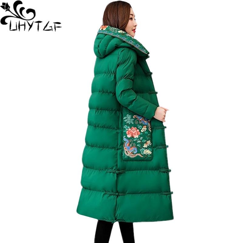 UHYTGF mujer chaqueta de invierno abrigo de mujeres bordado Retro parkas mujer con capucha Slim caliente Chaqueta larga 4XL plus tamaño 441