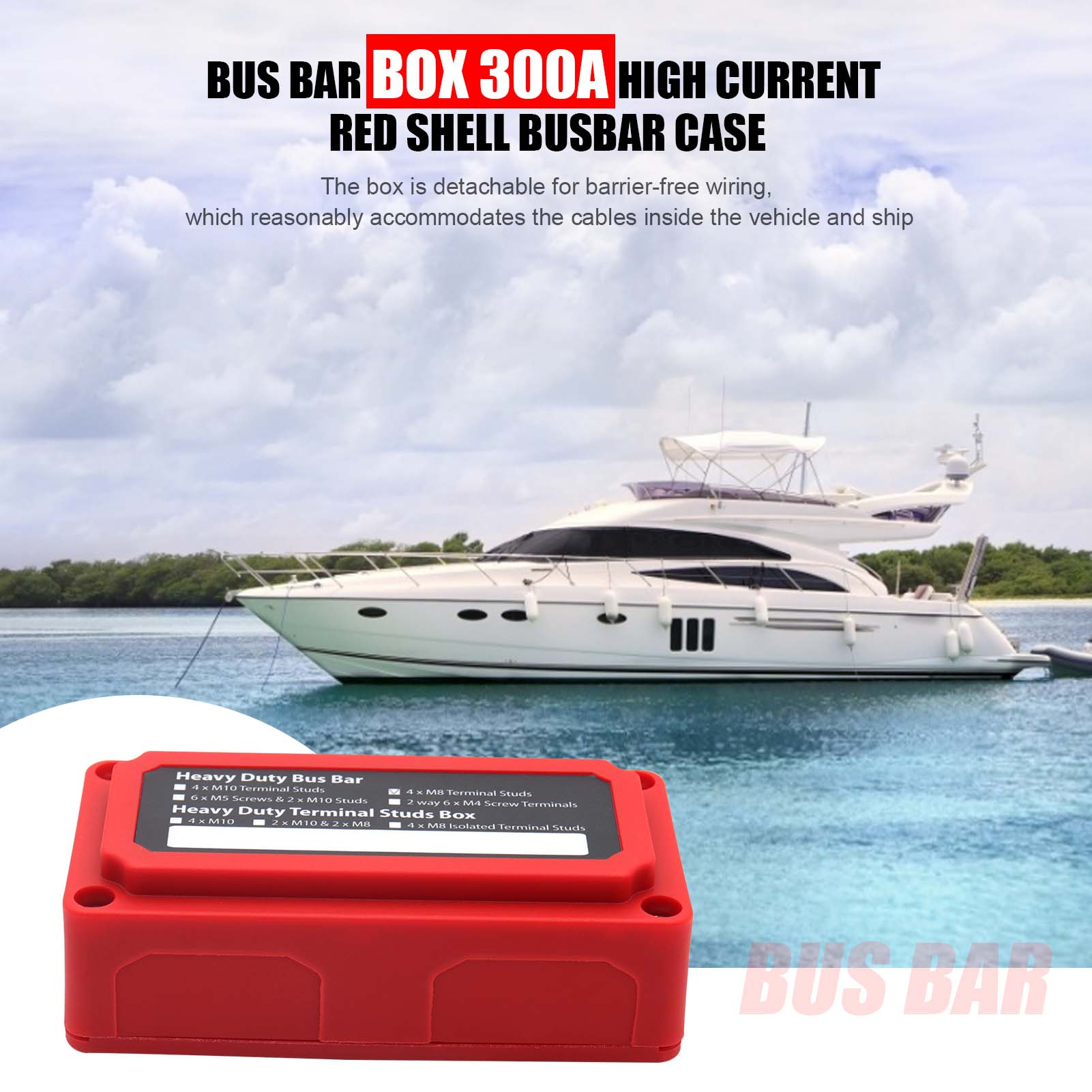 300A 48V New Red Bus Bar Durabe Detachable M8 Box High Current Shell Busbar Case Barrier-free Wiring Supplies Drop Shipping