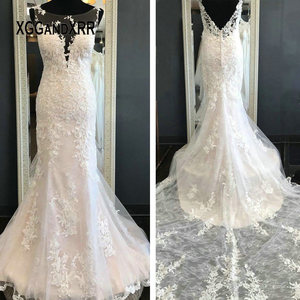 Sexy Lace Mermaid Wedding Dress 2020 Bridal Gown Scoop Sleeveless Illusion Lace Train Applique Backless Bride Dress Plus Size