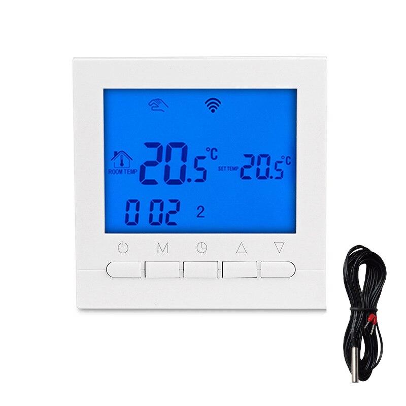 لوحة ترموستات للتدفئة المنزلية ، شاشة تعمل باللمس 16 أمبير ، تحكم بدرجة الحرارة ، لون أبيض