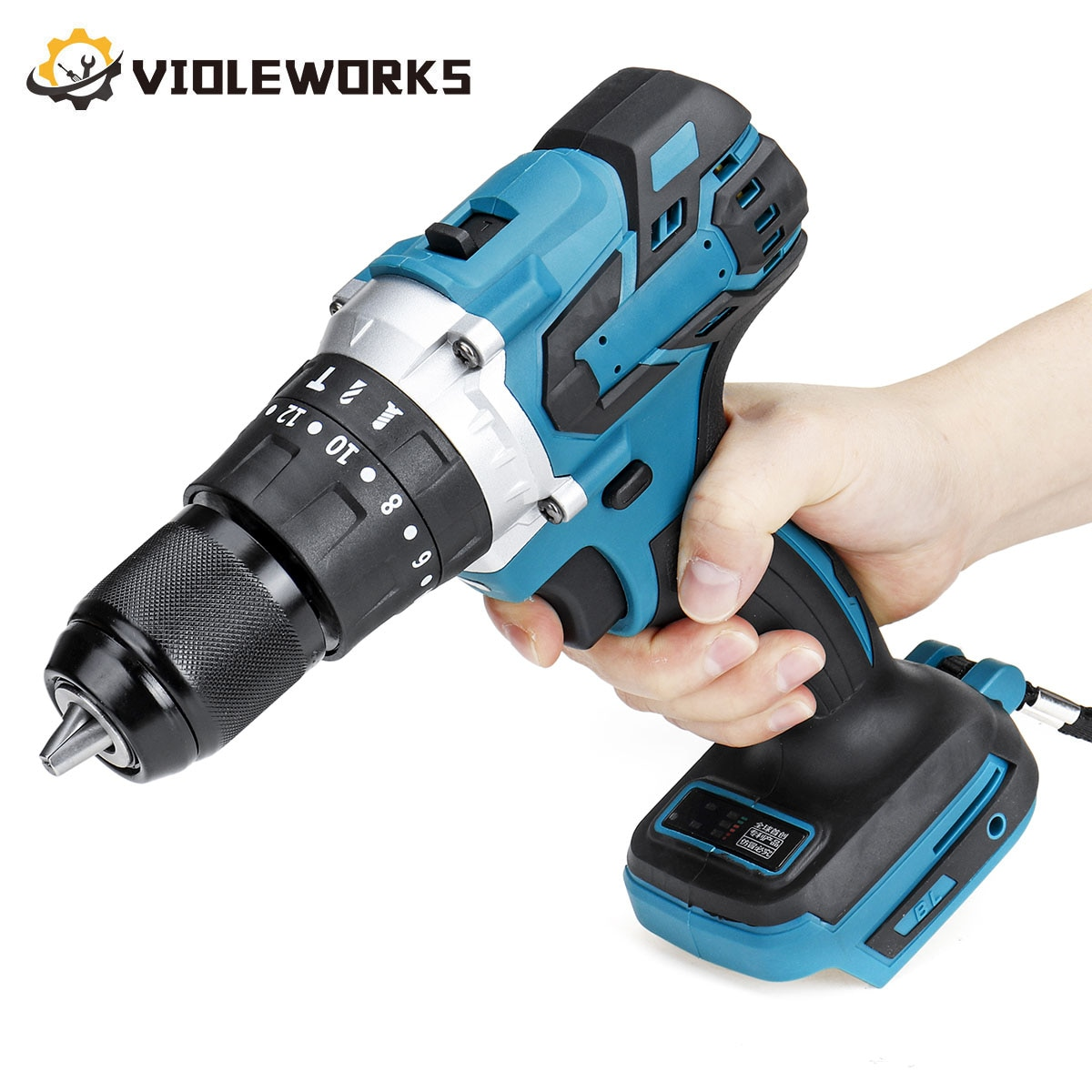 3 In 1 13mm Brushless Electric Hammer Drill Electric Screwdriver 20+3 Torque Cordless Impact Drill for Makita 18V Battery