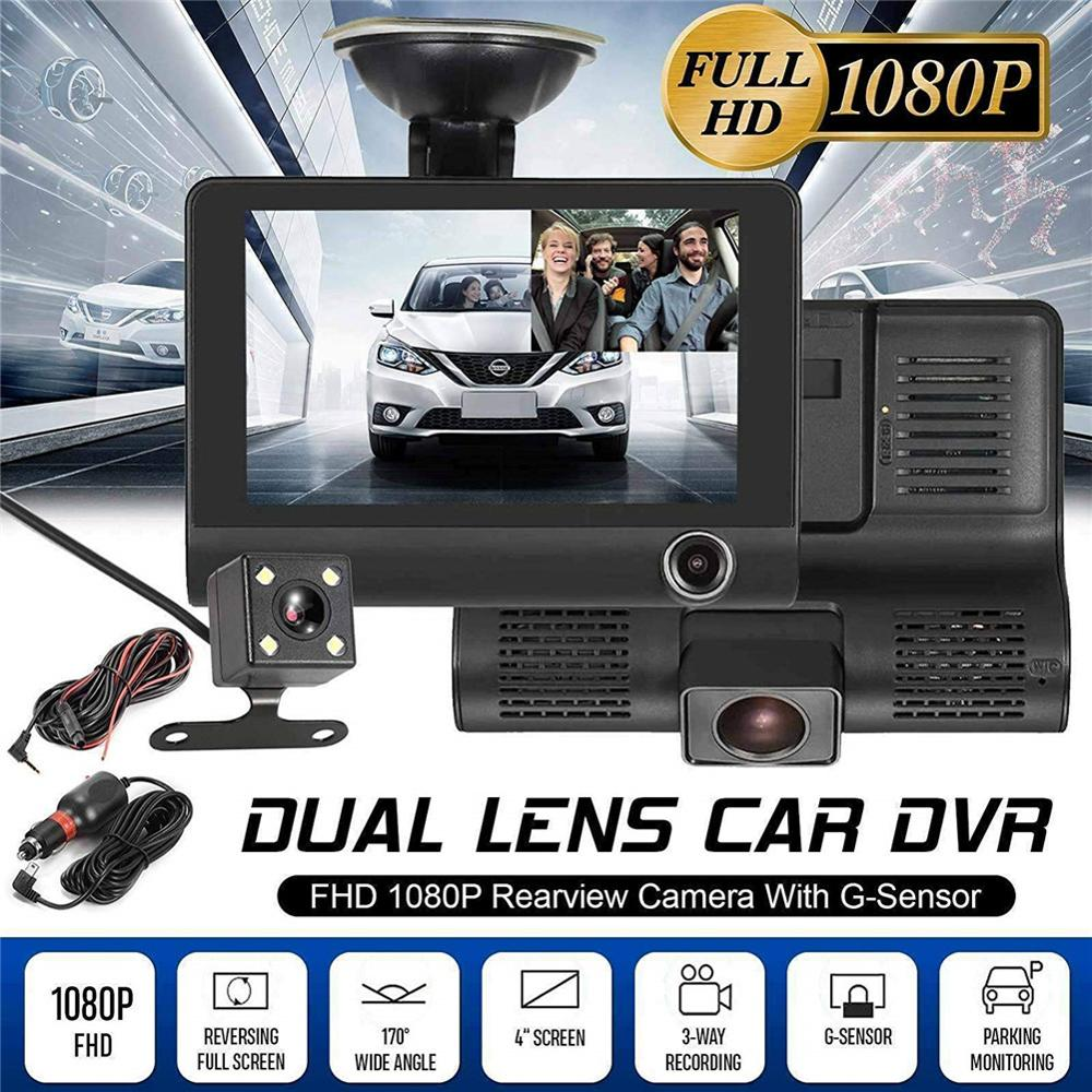 4.0 Inch Car DVR 3 Cameras Lens Dash Camera Dual Lens With Rearview Camera Video Recorder Dash Cam Auto Registrator Dvrs CSV недорого